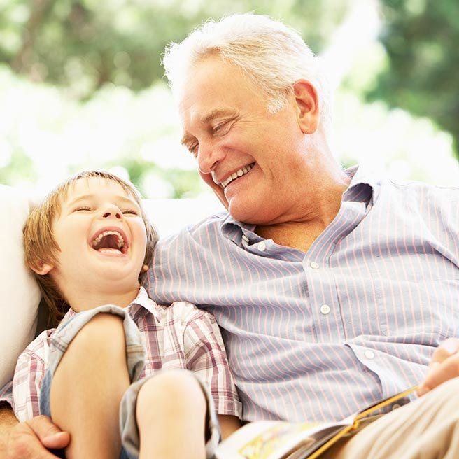 Grandpa and grandchild hugging each other | Protefix